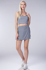 Navy White Gingham Skirt