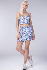 Blue White Floral Wrap Skirt