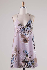 Lavender Floral Print Dress