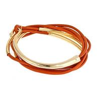 Leather Burnt Orange Bracelet