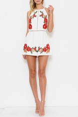 White Romper Rose Embroidery