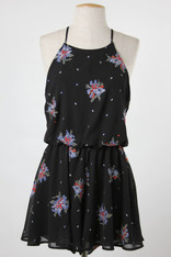 Black Romper with Embroidery