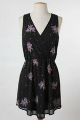 Black Embroidered V-Neck Dress