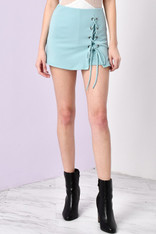 Light Blue Lace Up Skort