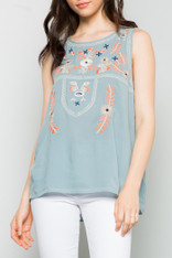 Light Blue Sleeveless Embroidered Top