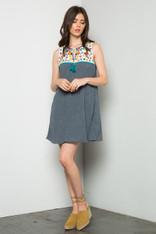 Sleeveless Embroidered Yoke Dress