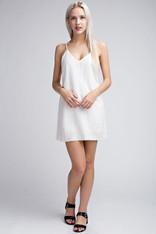 White Cotton and Linen Slip Dress