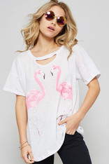 White Tee with Flamingos