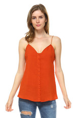 Burnt Orange Spaghetti Strap Top Button Down Front