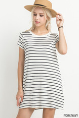 Ivory and Navy Striped T-Shirt Dress