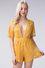 Yellow Lace Romper