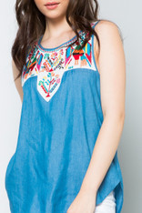 Sleeveless Chambray Top with Colorful Embroidery