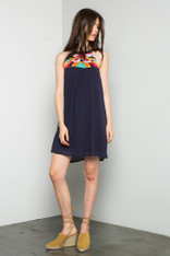 Navy Dress Colorful Embroidery