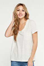 White Striped Tee Crochet Back