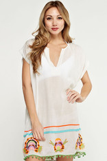 White Embroidered Cover Up Pom Pom Trim