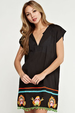 Black Embroidered Coverup Pom Pom Trim