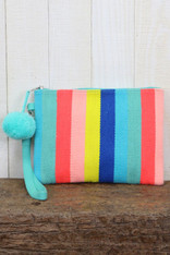 Multi Color Striped Clutch