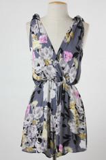 Grey Floral Print Shoulder Tie Romper