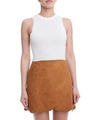 Camel Scallop Hem Skirt