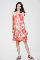 Orange and White Tie Dye Dress with Embroidery