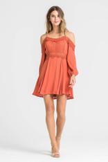 Burnt Orange Open Shoulder Dress Crochet Trim