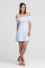 Light Blue Off The Shoulder Button Down Dress