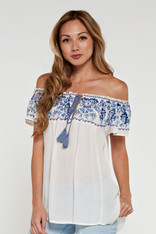 Ivory Off the Shoulder Top Blue Embroidery