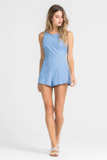 Blue White Striped Romper Criss Cross Back