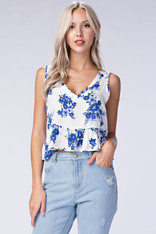 White Cropped Top with Blue Floral Print