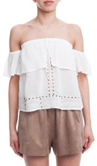 White Off The Shoulder Top Square Cut Outs