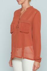 Burnt Orange Sheer Top