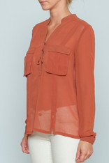 Burnt Orange Sheer Top