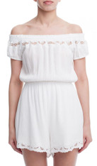 White Off the Shoulder Romper Small Cut Outs