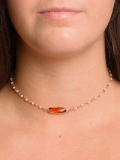 White Choker Burnt Orange Stone