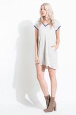 Grey V-Neck Dress