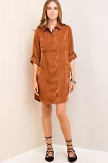 Burnt Orange Button Down Shirtdress