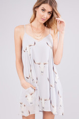 Light Grey Steer Head Print Dress