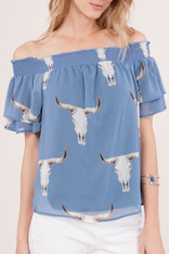 Light Blue Steer Head Off the Shoulder Top