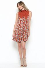 Burnt Orange Floral Dress Lace Neckline