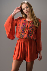 Burnt Orange Romper Bell Sleeves with Embroidery