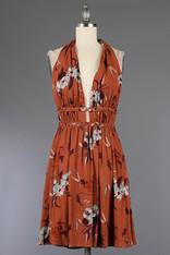 Rust Halter Dress Floral Print