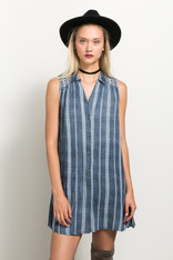 Navy Embroidered Button Down Dress
