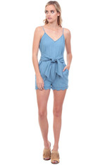 Vintage Blue Chambray Romper Polka Dots and Waist Tie