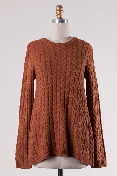 Burnt Orange Cable Knit Sweater - Longhorn Fashions