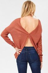 Rust Twist Back Sweater