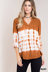 Burnt Orange and White Tie Dye Button Down Top