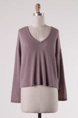 Lavender Knit Top Lace Up Back