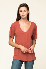 Rust Ribbed V-Neck Top