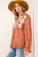 Burnt Orange Crochet Top White Embroidered Flowers