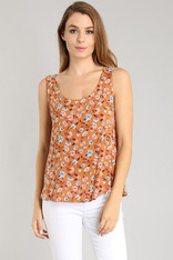 Burnt Orange Floral Print Tank Open Back